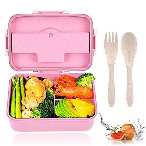 Porta Pranzo, Bento Box Grano Naturale,Eco Scatola da Pranzo in Fibra di Paglia di Grano,può Essere Usato per Microonde e Frigo Lavastoviglie (Rosa)