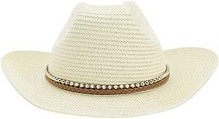 LiWen Zheng Western Cowboy Straw Hat Outdoor Seaside Beach Hat Men Women Pearl Woven Rope Sunscreen Visor Hat
