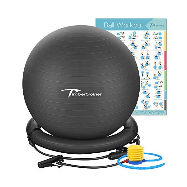 """Timberbrother Exercise Ball Chairs with Resistance Bands Workout Poster 16.5""""x..."""