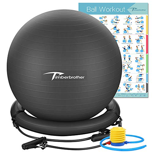 """Timberbrother Exercise Ball Chair with Resistance Bands Workout Poster 16.5""""x 22.4"""",Stability Ball Base for Gym and Home Exercise(Black with Ring & Bands)"""