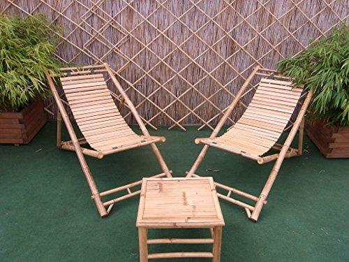 BIHL Bambusliegestuhl Sonnenliege Bambus-Liegefläche