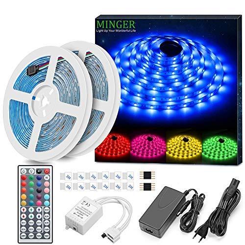LED Strip 10m, MINGER RGB LED Streifen Wasserdicht mit 44-Tasten IR Fernbedienung und 12V Netzteil, Flexibel LED Lichtband für Indoor Dekoration