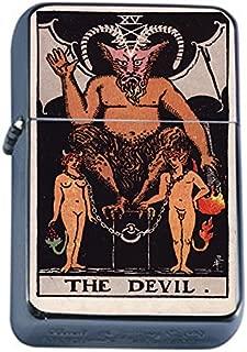 Tarot Card The Devil Flip Top Oil Lighter S17 Smoking Cigarette Smoker Includes Silver Case