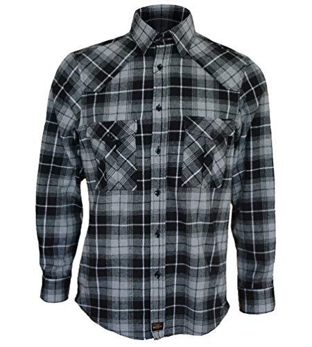 ROCK-IT Apparel® Camisa de Franela de Manga Larga para Hombres Camisa de leñador a Cuadros Fabricada en Europa Rojo Negro Gris a Cuadros 5XL