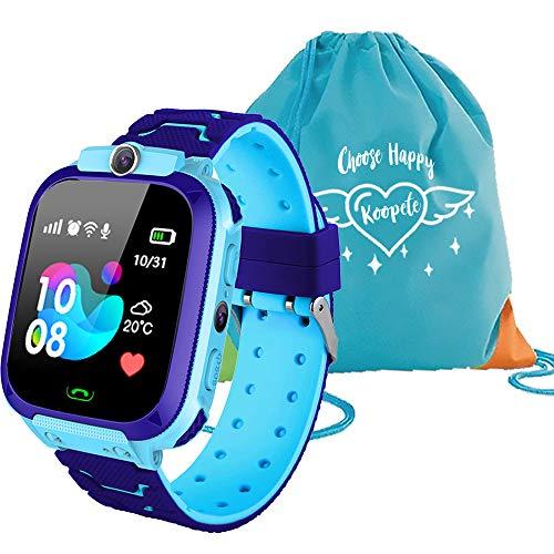 Koopete.Smartwatch niños.Regalo de Mochila.Reloj Inteligente niños con localizador LBS,cámara Fotos,Llamadas,botón SOS,Pantalla táctil,Juego,Despertador,Linterna. (Azul)