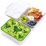 JARLSON® Brotdose für Kinder mit 4 Fächern - Lunchbox aus Tritan - Bento Box auslaufsicher – Jausenbox für Kindergarten und Schule - Mädchen und Jungen - 850ml (Dinosaurier)