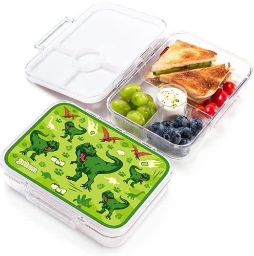 JARLSON® Brotdose für Kinder mit 4 Fächern - TÜV geprüft - Lunchbox aus Tritan - Bento Box auslaufsicher – Jausenbox für Kindergarten und Schule - Mädchen und Jungen - 850ml (Dinosaurier)