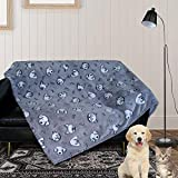 Patas Lague Extra Soft Flannel Cat/ Dog Blanket for Couch ,Plush Pet Throw Blanket with Cute Print Design (Navy Grey,30' x 40')