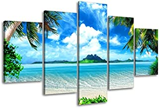 Beach Pictures Wall Art for Living Room, SZ 5 Piece Seascape Canvas Prints of Tropical Palm Tree and Caribbean Island Sandy Seaside (Dark Blue, Bracket Fixed, 1