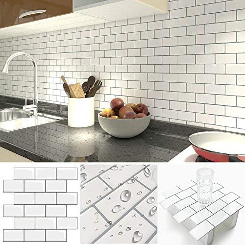 Fliesendekor Aufkleber, 3D Fliesenaufkleber Wandaufkleber Fliesensticker Fliesen Selbstklebend für Küche, Bad 30 x 30cm(5er-Set,Weiß)