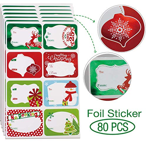 80-Count Foil Christmas Gift Tags Sticker8 Jumbo Designs - Xmas to from Christmas Stickers Name Tags Write On Labels - Holiday Present Labels