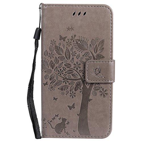 ISAKEN Motorola Moto G5 Hülle, PU Leder Flip Cover Brieftasche Geldbörse Ledertasche Handyhülle Tasche Case Schutzhülle mit Handschlaufe Strap für Motorola Moto G5 - Baum Katze Grau
