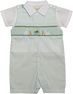 Boys Blue Shortall Set - Smocked Easter Bunnies with Colorful Eggs and Collared White Shirt