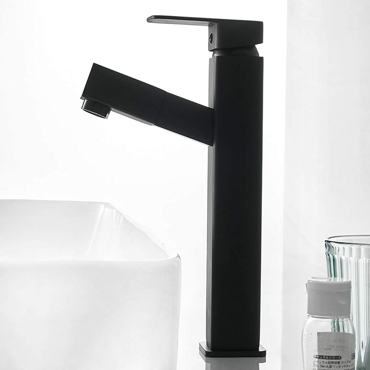 Niuniu Bathroom Black Faucet Hot And Cold Wash Basin Wash Basin Retractable Pull-type Household Bathroom Faucet (color   B)