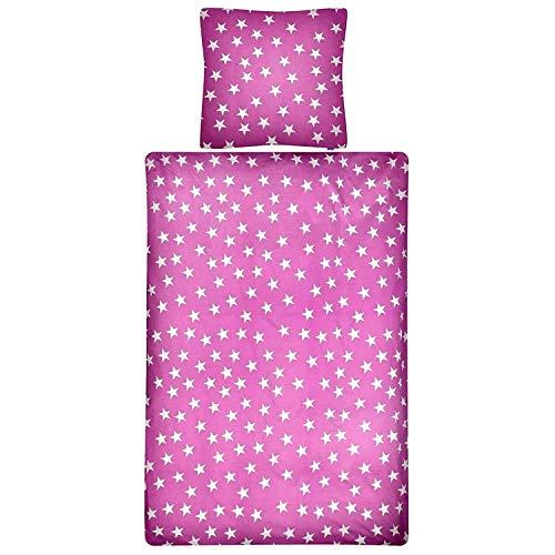 Aminata Kids Bettwäsche 135 x 200 cm Sterne Stern-Motiv Mädchen Baumwolle mit Reißverschluss, unser Bettwäsche-Set ist weich und kuschelig - Fuchsia violett pink weiß