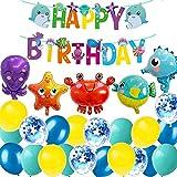MAKFORT Décorations de Fête d'anniversaire Océan Animaux de mer Ballons Decoration avec Bannière Joyeux Anniversaire Latex Ballons pour Enfant