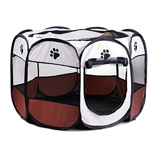 Gohbqany Pet Bed Indoor/Outdoor Pet Playpen Cage. Best Exercise Kennel for Your Dog, Cat, Rabbit, Puppy, Portable for Easy Travel Soft (Color : Coffee, Size : M)