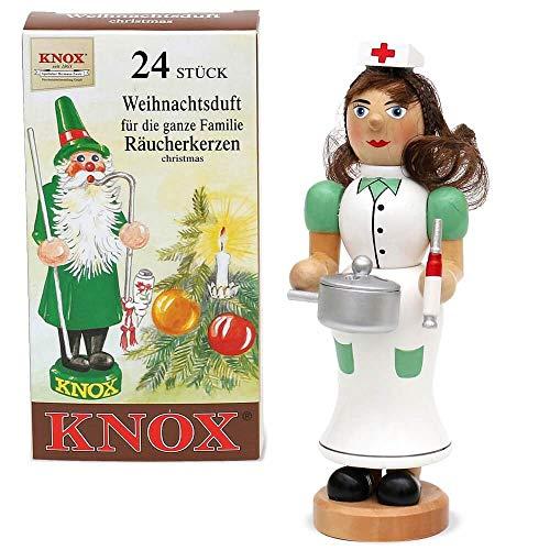matches21 Räuchermännchen Räucherfiguren Weihnachten Advent Holz 16-20 cm inkl Räucherkerzen - Krankenschwester mit Schieber