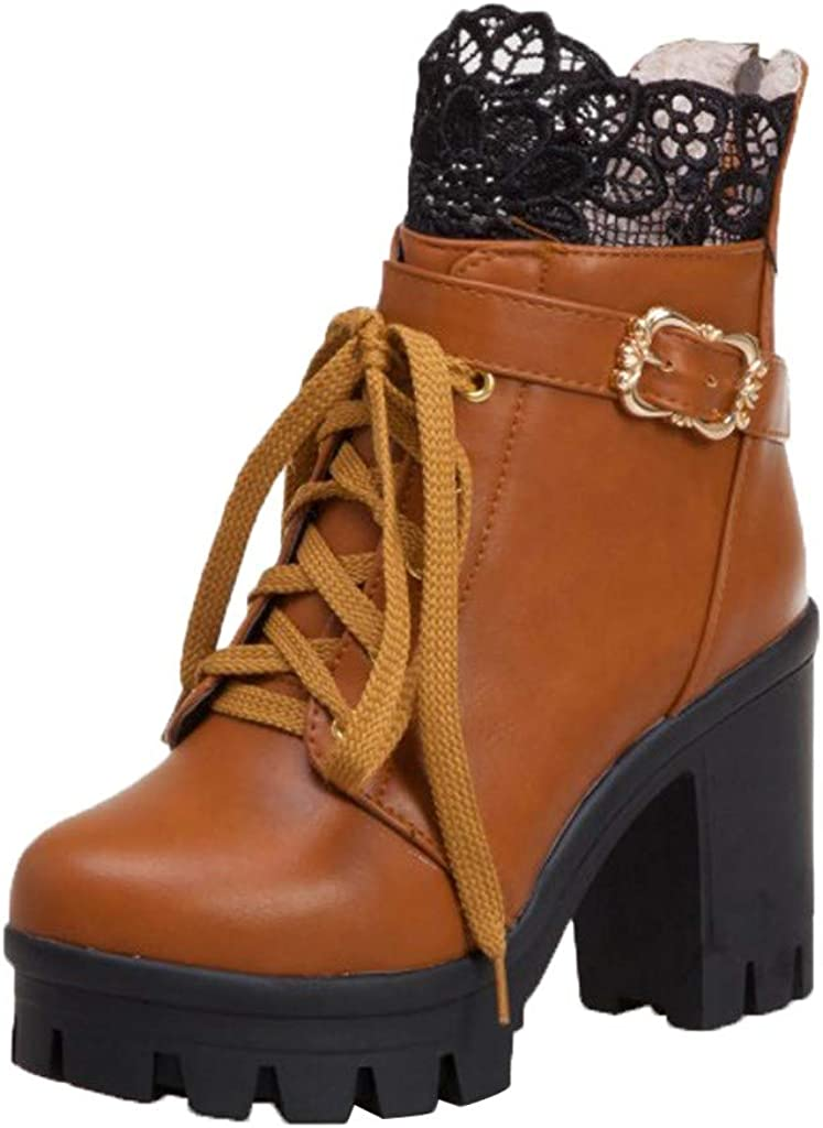 Platform Booties - RQWIEN Women Autumn Lace Toe B Up SALENEW very popular! Ankle Round Sales results No. 1