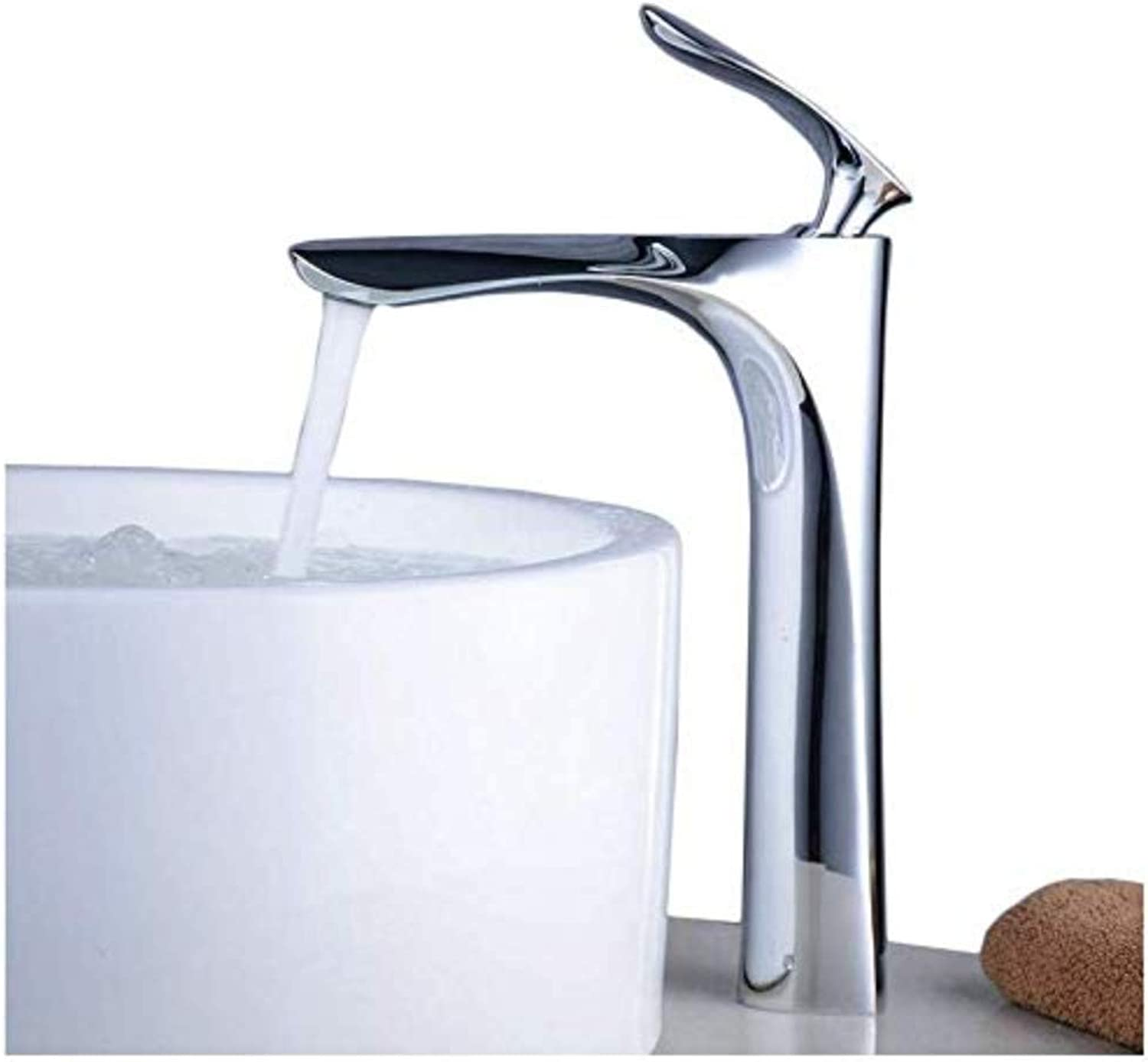 Faucettall Counter Top Basin Mixer Tap Curved Bathroom Sink Tap Designer Style,Chrome,