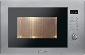 Candy MIC25GDFX Microondas integrable con grill sin marco, plato giratorio 31,5 cm, 10 programas, 900 W-1000 W, 1450 W, 25 litros, Acero, Inox
