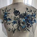Apliques de bordado, con flores, con cuentas, en 3D, tela de encaje con diamantes de imitación, para ropa decorada, suministros de costura, No nulo, Azul zafiro., Tamaño libre