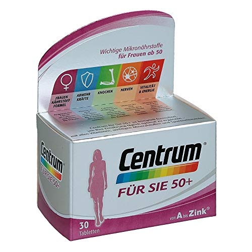 Centrum Für Sie 50+ – Hochwertiges Nahrungsergänzungsmittel mit Mikronährstoffen – Speziell für Frauen ab 50 – Vitamine, Mineralstoffe, Spurenelemente – 1 x 30 Tabletten