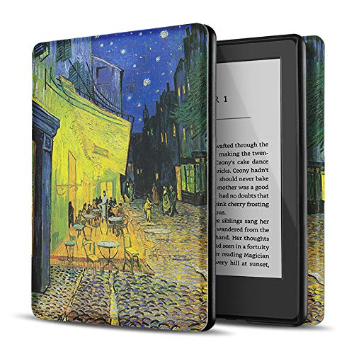 "TNP Case for All New Kindle 10th Generation Gen 2019 Release - Will Not Fit Kindle Paperwhite or Oasis, Smart Cover with Auto Sleep & Wake for Amazon 6"" Display E-Reader (Cafe at Night - Van Gogh)"