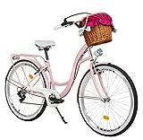 Milord. Bicicletta Comfort Rosa a 7 velocità da 28 Pollici con cestello e Marsupio Posteriore, Bici Olandese, Bici da Donna, City Bike, retrò, Vintage