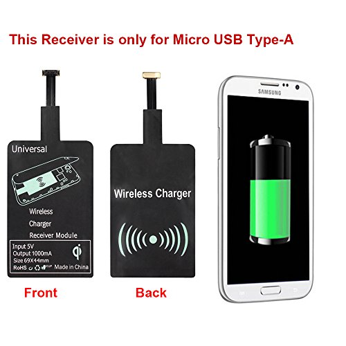 Qrity Qi Wireless Charger Receptor de Cargadores Qi para Samsung Galaxy S2/S3/S4/S5/Note 2/3/4, HTC, Nokia, Blackberry, Pentax, Huawei, VIVO, OPPO Y otro teléfono micro USB Android (Type-A)