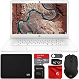 HP Chromebook 14' HD Laptop (Intel Celeron N3350 up to 2.4GHZ, 4GB RAM, 32GB eMMC Flash Memory, Webcam, WiFi, Bluetooth, USB-A&C, Chrome OS) Bundle with 64GB microSDXC Card, Mouse, Mouse Pad