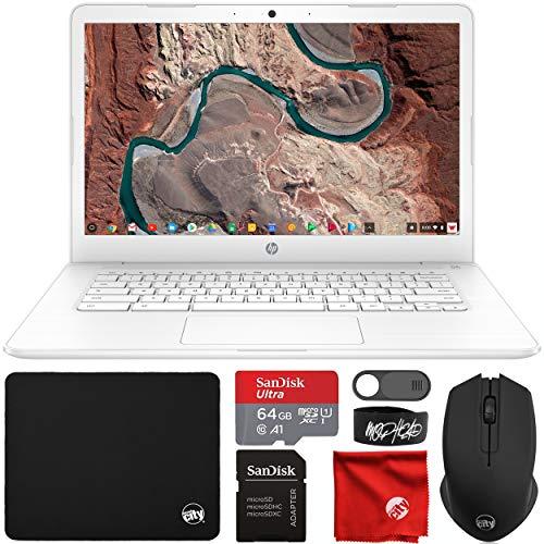 HP Chromebook 14quot HD Laptop Intel Celeron N3350 up to 24GHZ 4GB RAM 32GB eMMC Flash Memory Webcam WiFi Bluetooth USBAampC Chrome OS Bundle with 64GB microSDXC Card Mouse Mouse Pad