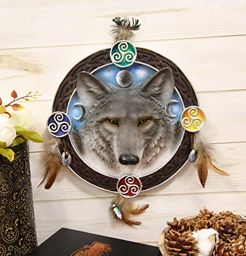 Ebros Large 12' Diameter Triple Goddess Triskele Trinity Celtic Alpha Wolf Round Dreamcatcher with Feathers Wall Hanging Decor Accent Dream Catcher Decoration Hanger for Home and Office Talisman