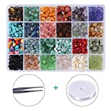 Efivs Arts 24 Stone Beads Natural Gemstone Beads Irregular Chips Stones Crushed Chunked Crystal Pieces Loose Beads for Jewelry Making DIY Crafts
