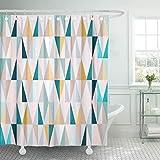 JOOCAR Design Duschvorhang, blaugrün-gold, geometrisches Muster auf Dreiecken, Hipster-blaue Linien, wasserdichter Stoffstoff, Badezimmer-Dekor-Set mit Haken