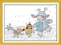 クロスステッチカウントキットスタンプ、大人の初心者のためのDIY手作り刺繡用品、バニースケート、16x20インチの完璧な家の装飾のクリスマスプレゼント(11CT事前印刷)