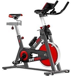 FITFIU Fitness BESP-22 Bicicleta indoor ergonómica con disco de inercia de 24kg y resistencia regulable, Bici de entrenamiento fitness con sillín ajustable, pulsómetro y pantalla LCD