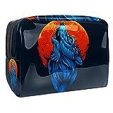 Bolsa de Maquillaje para niños Lobo y Luna Accesorio de Viaje Neceser Pequeño Bolsas de Aseo Impermeable Cosmético Organizadores de Viaje 18.5x7.5x13cm