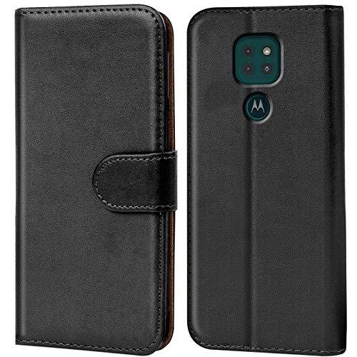 Verco Motorola Moto G9 Play Hülle, Handyhülle für Motorola Moto G9 Play Tasche PU Leder Flip Case Brieftasche, Schwarz