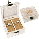 Strova Wooden Ring Box for Wedding Rings and Couple Jewelry - Engraved Mr. & Mrs. Lettering - Ring Bearer Box for Display or Personal Organizer - Brass Latch and Soft, Protective Ring Cushions