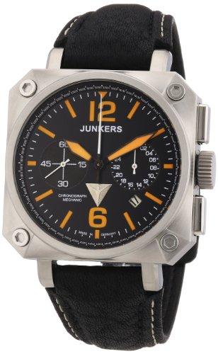 Junkers 6700-5 - Reloj cronógrafo Manual para Hombre, Correa de Cuero Color Negro