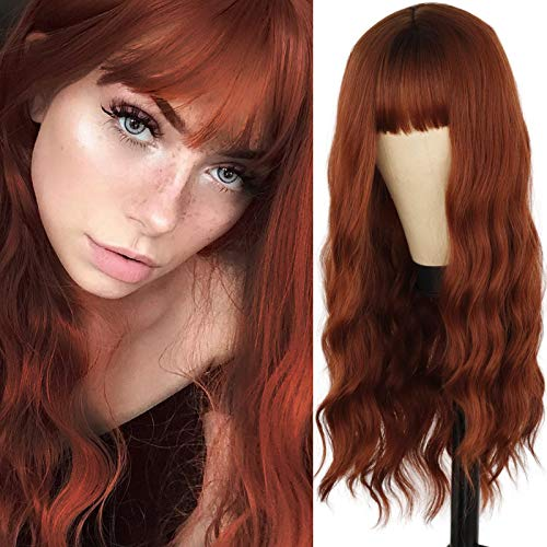 MERISIHAIR Long Wavy Auburn Wig with Bangs,Natural Wavy Curly Ginger Wigs for Women,Synthetic Cosplay Party Copper Wig(Auburn)