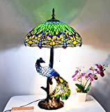 Tiffany Style 5-Lights Dragonfly Table Lamp Vintage Handmade Stained Glass Desk Lamp with Peacock Base for Living Room Bedroom Cafe Bar,Green