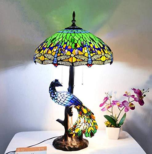 GDLight Tiffany Stil 5-Lichter Libelle Tischlampe Vintage handgemachte Glasmalerei Schreibtischlampe mit Pfau Basis für Wohnzimmer Schlafzimmer Cafe Bar,Grün