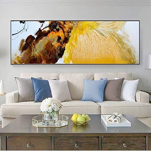 KWzEQ Cartel de Pintura al óleo Abstracta Moderna Naranja Dorado Moderno e Imagen de Arte Mural sobre Lienzo,Pintura sin Marco,45x135cm