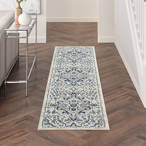 Nourison Cyrus Swirling Vines Ivory Blue 8' Runner Area Rug , 2'2' x 7'6'