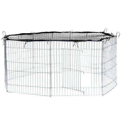 TecTake Freilaufgehege mit Schutznetz für Nager und Kleintiere | aus 8 Elementen Ø 145 cm - Diverse Farben - (Netz Schwarz | Nr. 402392)