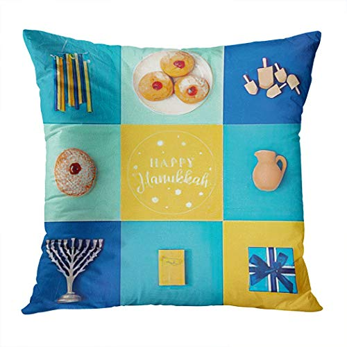 Chanukah Throw Pillow Cover,Jewish Holiday Hanukkah Menorah Gift Box Dreidel and Sufgan,Cushion Cases Shams for Indoor Outdoor Home Decor Living Room Bedroom Office Cotton Pillowcase,20'x20'