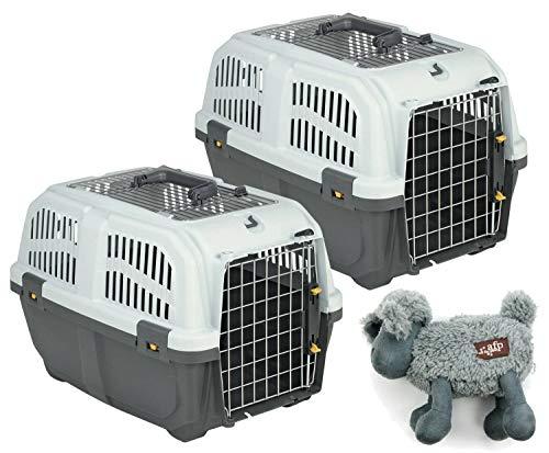 PETGARD 2er Sparpack Transportbox Hundebox Katzenbox SKUDO 2 Open mit gratis Hundespielzeug