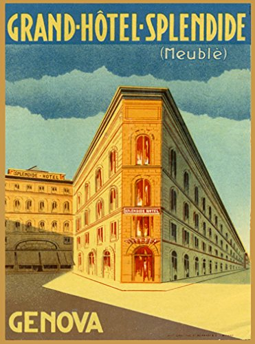Grand-Hotel-Splendid (Meuble) Genova Genoa Italia Italy Italian Vintage Travel Advertisement Art Poster Print. Measures 10 x 13.5 inches